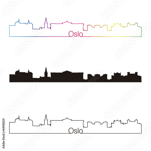 Oslo skyline linear style with rainbow