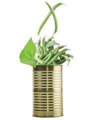 Tin Can With Raw Green Beans