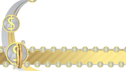 Gold and silver dollar symbol background (including alpha matte)