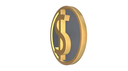 Gold and silver dollar symbol, loop (including alpha matte)