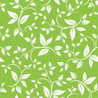 Seamless white floral pattern on green. Vector illustration.