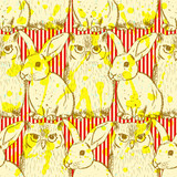 Sketch rabbit and owl, vector vintage seamless pattern