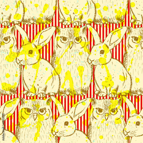 Sketch rabbit and owl, vector vintage seamless pattern - 64151015