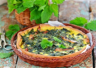 homemade nettle quiche