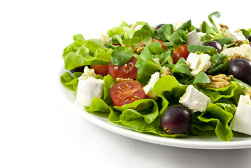 Salad with cheese on white background