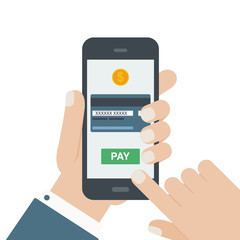 mobile payment flat design hand isolated background