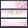 Set of horizontal banners with soap bubbles - pink background.