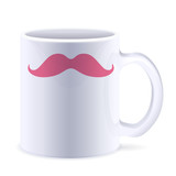 Funny white cup with mustaches.