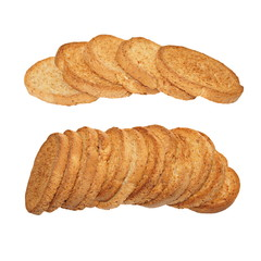 whole wheat dry rusk bread, wholemeal bread isolated on white