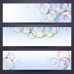 Set of horizontal banners with soap bubbles - blue background.