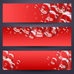 Set of horizontal banners with soap bubbles - red background.
