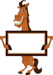 cute horse cartoon with blank sign