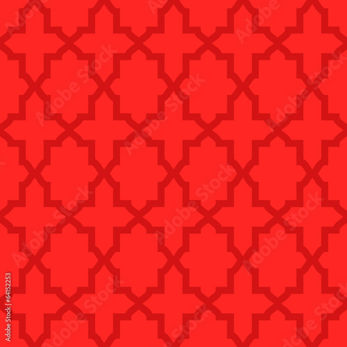 Simple abstract arabesque pattern - red color.