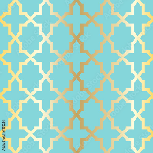 Simple abstract arabesque pattern - turquoise and golden.