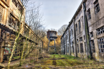 Exterior of an abandoned factory building