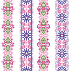 Seamless floral pink green lace pattern on white