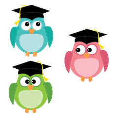 Three owls with graduation caps