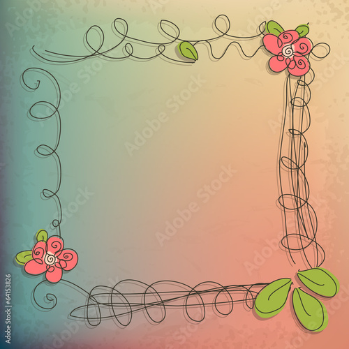 Abstract doodle flower with your text (vector eps 10)