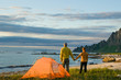 couple camping in Norway