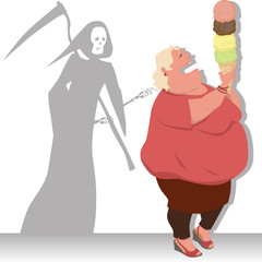 Grim Reaper touches an overweight woman