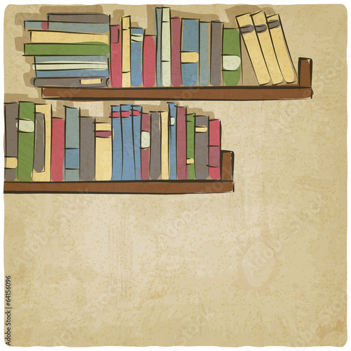 hand drawing bookshelf old background