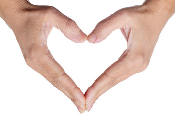 woman hands forming a heart