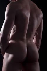 Nackter Bodybuilder Mann Po Rücken Ansicht