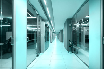 data center corridor, technology concept