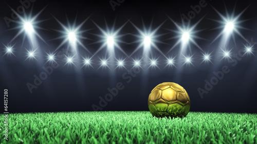 Soccer arena and golden ball , Football stadium - 64157280