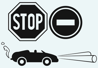 Car and two road signs