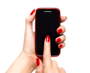 Elegant woman hands holding a smartphone