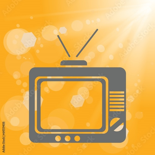 old tv on a yellow background
