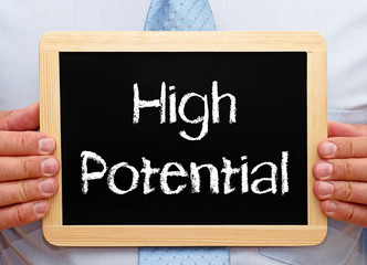 High Potential - Businessman with blackboard