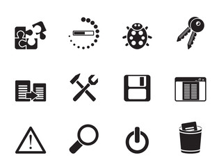 Silhouette developer, programming and application icons