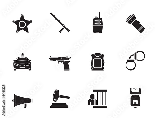Silhouette law, order, police and crime icons