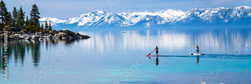 Tuinposter Grote meren Paddle boarding