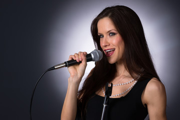 Attractive Brunette Female Musical Vocalist Karaoke Singer Audio