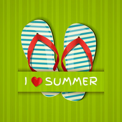 I love summer. Card with flip-flops.