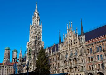 The Marienplatz in Munich with tree christmas