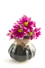 Flowers in floral vase on a white background