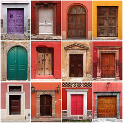 collection of colorful mexican doors