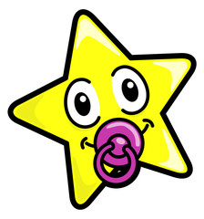 Vector drawing of a star with a pacifier.