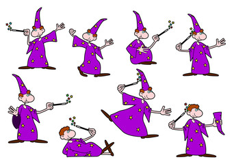 Vector drawing of a young wizard in different positions.