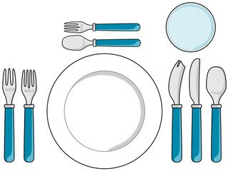 Vector drawing of a dishes, glass and cutlery