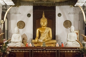 Buddha statues inside the Temple of the Tooth