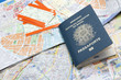 canvas print picture - Passport, maps, and tickets
