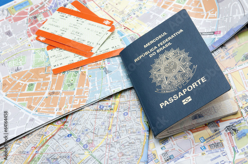 canvas print picture Passport, maps, and tickets