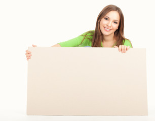 happy young woman with white board