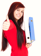 student girl with thumb up