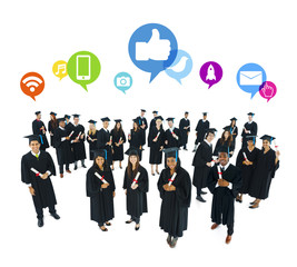 Graduated Students with Social Media Icons